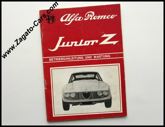 Newly arrived: Original 1971 Alfa Romeo Junior Z 1300 Zagato Owners Manual in GERMAN